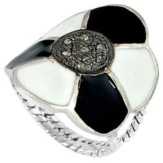 Estate natural white diamond black enamel 925 sterling silver ring size 7 v1178