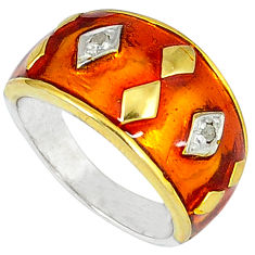 Estate natural diamond enamel 925 sterling silver gold band ring size 8.5 v1182