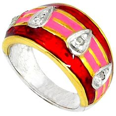 Estate natural diamond red enamel 925 silver 14k gold band ring size 7 v1186
