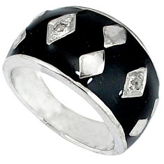 Vintage natural diamond black enamel 925 silver band ring jewelry size 7 v1187