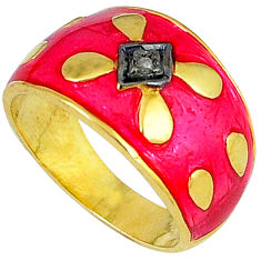 Handmade natural diamond enamel 925 silver 14k gold band ring size 6.5 v1189