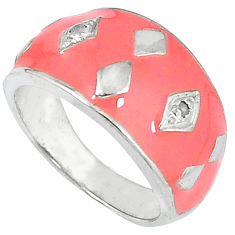 Estate natural white diamond pink enamel 925 silver band ring size 8 v1193