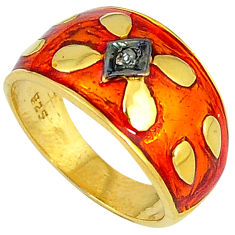 Victorian natural diamond red enamel 925 silver gold band ring size 8 v1195