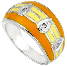 Vintage natural white diamond orange enamel 925 silver band ring size 9 v1197