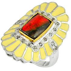 4.64cts vintage diamond ammolite (canadian) 925 silver gold ring size 9 v1208