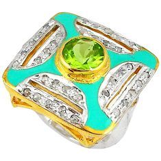 3.61cts estate natural diamond green peridot 925 silver gold ring size 7 v1210