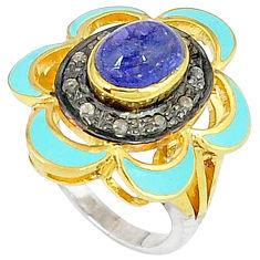 3.16cts vintage natural diamond blue tanzanite 925 silver gold ring size 7 v1231