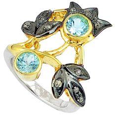 3.20cts handmade natural diamond blue topaz 925 silver gold ring size 6.5 v1234