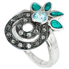 925 silver 1.38cts estate natural diamond topaz enamel gold ring size 7 v1251