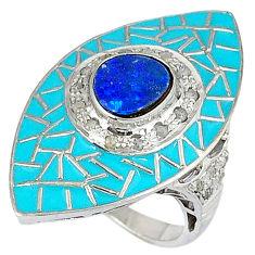 4.07cts estate diamond australian opal (lab) 925 silver gold ring size 8 v1285