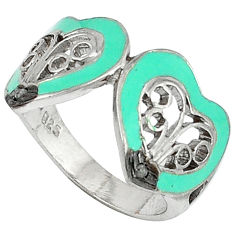 Estate natural white diamond enamel 925 silver heart ring jewelry size 8.5 v1302