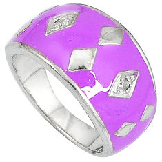 Handmade natural diamond purple enamel 925 silver band ring size 8 v1304