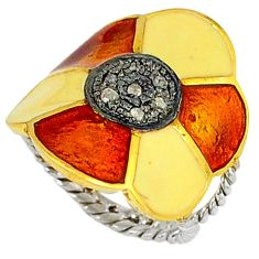Vintage natural white diamond round enamel 925 silver gold ring size 7 v1311