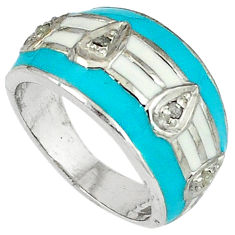 Estate natural white diamond blue enamel 925 silver band ring size 7 v1314