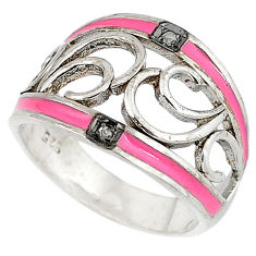 925 silver vintage natural white diamond pink enamel band ring size 9 v1631