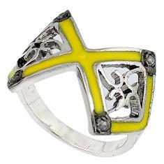 Vintage natural white diamond yellow enamel 925 silver ring size 6.5 v1634