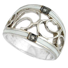 Vintage natural white diamond white enamel 925 silver band ring size 7 v1645