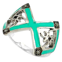Vintage natural white diamond blue enamel 925 silver ring jewelry size 7 v1659