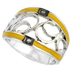 Estate natural diamond round yellow enamel 925 silver band ring size 9 v1660