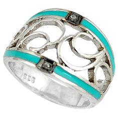 Vintage natural white diamond round enamel 925 silver band ring size 8 v1669
