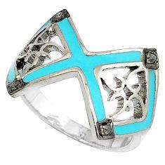 925 sterling silver vintage natural white diamond blue enamel ring size 8 v1671