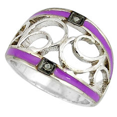 Estate natural diamond round purple enamel 925 silver band ring size 7 v1675