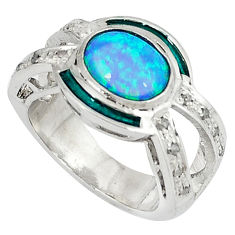 3.95cts estate diamond australian opal (lab) enamel 925 silver ring size 8 v1805
