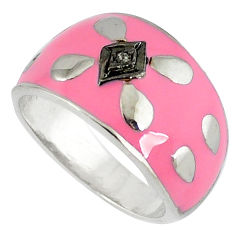 Vintage natural diamond round pink enamel 925 silver band ring size 6.5 v1821