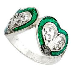 Estate natural white diamond round green enamel 925 silver ring size 9 v1824