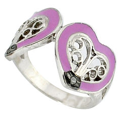 925 silver estate natural white diamond round purple enamel ring size 8 v1825