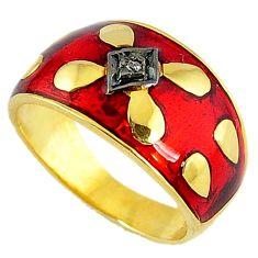 925 silver estate natural diamond red enamel 14k gold band ring size 8 v1828