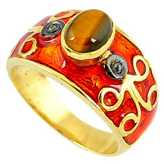 2.24cts victorian diamond tiger's eye 925 silver gold band ring size 8.5 v1829