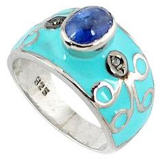 2.11cts vintage diamond blue tanzanite enamel 925 silver band ring size 7 v1830