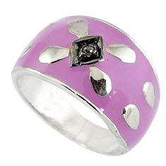 Estate natural diamond round purple enamel 925 silver band ring size 7 v1832