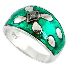 Vintage natural white diamond green enamel 925 silver band ring size 9 v1834