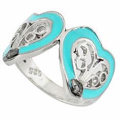 Vintage natural white diamond blue enamel 925 silver ring jewelry size 7 v1837