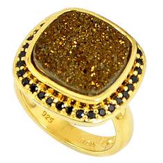 8.02cts victorian titanium druzy topaz 925 silver 14k gold ring size 5 v1850