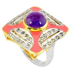 4.96cts victorian natural diamond amethyst 925 silver 14k gold ring size 8 v1862