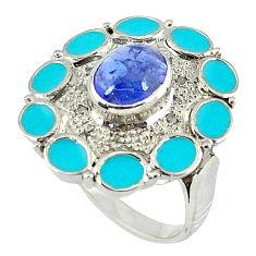 3.16cts vintage diamond blue tanzanite enamel 925 silver ring size 8 v1865