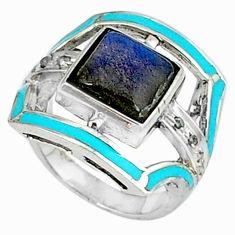 4.62cts vintage diamond blue labradorite enamel 925 silver ring size 7 v1885