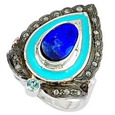 3.55cts estate diamond australian opal (lab) topaz 925 silver ring size 7 v1889