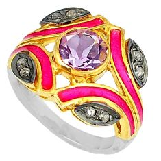 3.36cts estate natural diamond purple amethyst 925 silver gold ring size 8 v1894