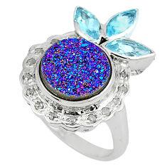 9.55cts vintage white diamond titanium druzy topaz 925 silver ring size 9 v1899