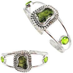925 silver green moldavite (genuine czech) peridot adjustable bangle h89248