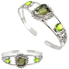 925 silver green moldavite (genuine czech) peridot adjustable bangle h89249