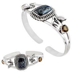 925 silver 14.69cts natural black psilomelane adjustable bangle jewelry p82610