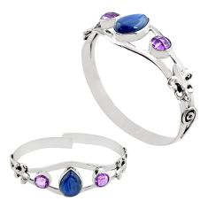 925 silver 12.08cts natural blue kyanite amethyst adjustable bangle p82617