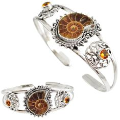 925 silver natural brown ammonite fossil citrine adjustable bangle h89236