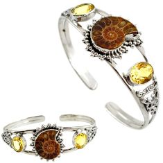 925 silver natural brown ammonite fossil citrine adjustable bangle h89238