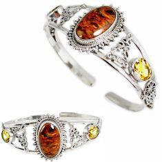 925 silver natural brown pietersite (african) citrine adjustable bangle h89258